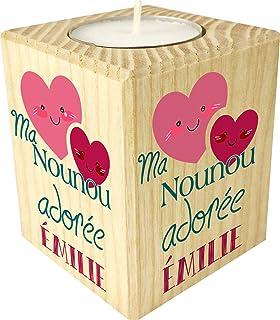 Bougie personnaliséeMa Nounou Adorée – Porte Bougie en bois personnalisé avec le prénom – Cadeau de fin d'année pour reme...