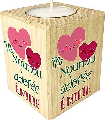 Bougie personnaliséeMa Nounou Adorée – Porte Bougie en bois personnalisé avec le prénom – Cadeau de fin d'année pour remercier la nourrice de votre enfant ou bébé – cadeau fin de contrat