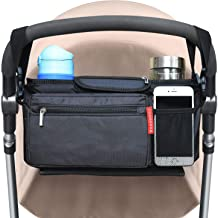 Baby Stroller Organizer with Cup Holders - Secured Fit/Extra Storage/Easy Installation/Shoulder Strap - Universal Fits for Uppababy, Baby Jogger, Britax, Bugaboo, BOB, Umbrella and Pet Stroller