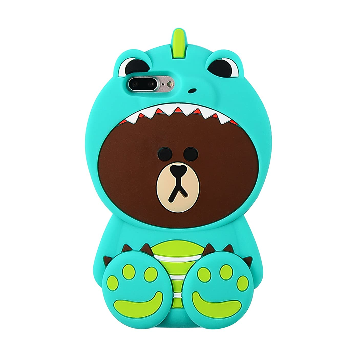 Artbling Case for iPhone 7 8 Silicone 3D Cartoon Animal Cover, Kids Girls Cool Fun Lovely Cute Bear Cases,Kawaii Soft Gel Rubber Unique Character Fashion Protector for iPhone7 iPhone8 (Green Dinosaur)