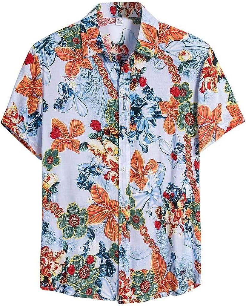 Misaky Men's Summer Floral Casual Short Sleeve Button Down Hawaiian Palm Trees Shirt Cotton Beach Tshirt