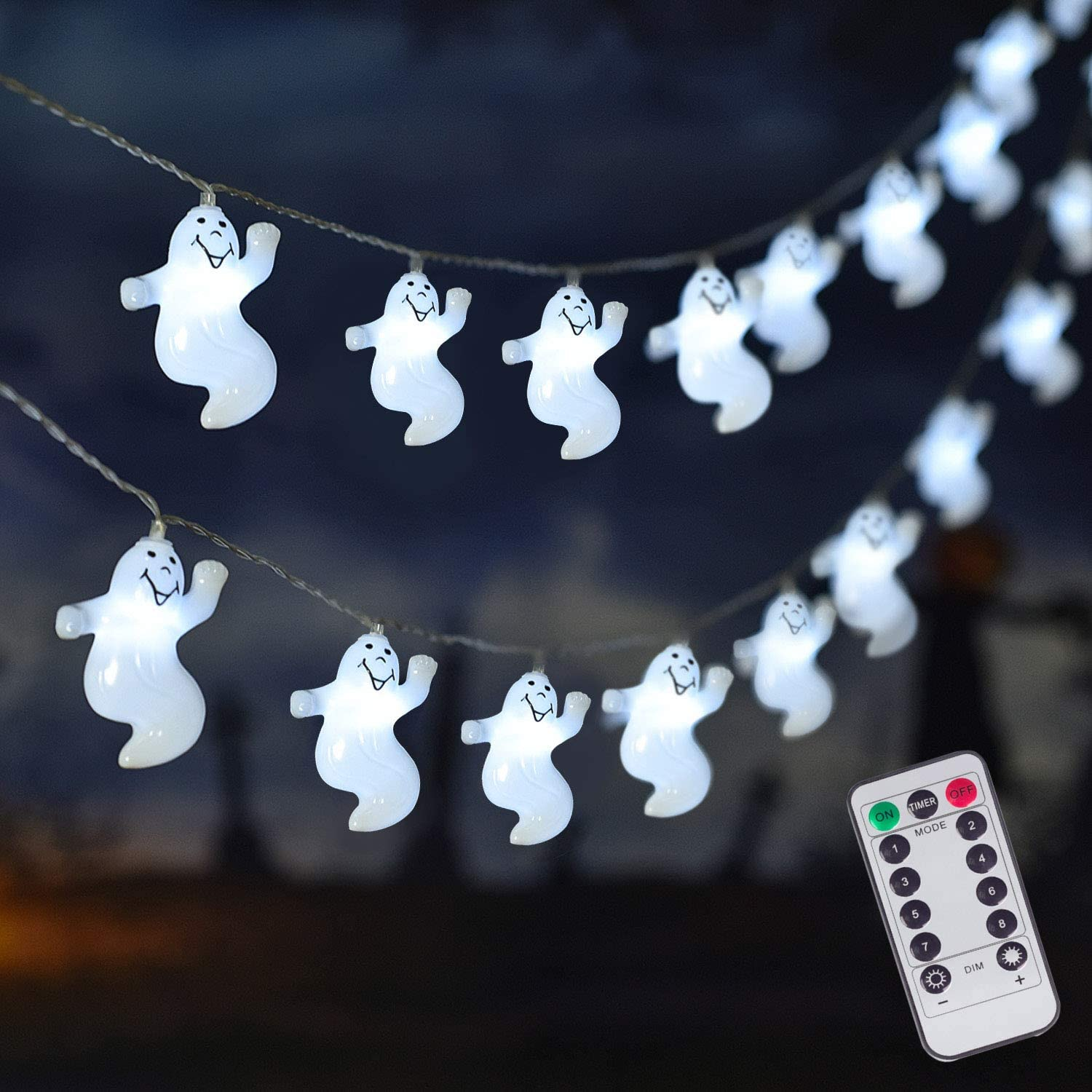 ILLUMINEW 30 LED Halloween Ghost String Lights, Battery Operated Halloween Lights with Remote, 8 Modes Fairy Lights Indoor Outdoor Party, Patio, Christmas, Halloween Decoration (Medium): Home Improvement