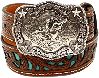 M+F Western Products Boys Boys Brown Belt With Turquoise Inlay Scroll