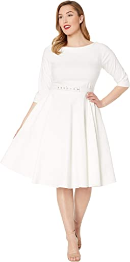 Plus Size 1950s Style Stretch Sleeved Devon Swing Dress