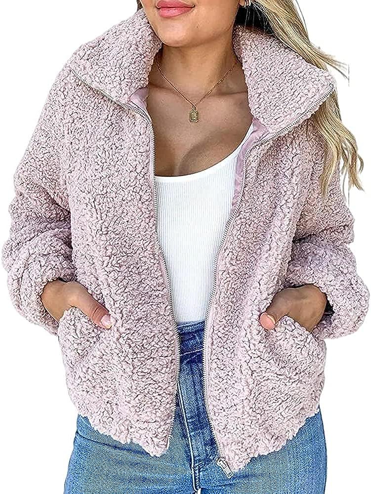 Langwyqu Womens Fuzzy Fleece Sherpa Jackets Long Sleeve Zip Up Casual Winter Coats with Pokcets