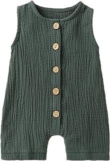 Cecobora Infant Newborn Baby Boys Girls Cotton Linen Romper Summer Jumpsuit Sleeveless Overalls Clothing Set