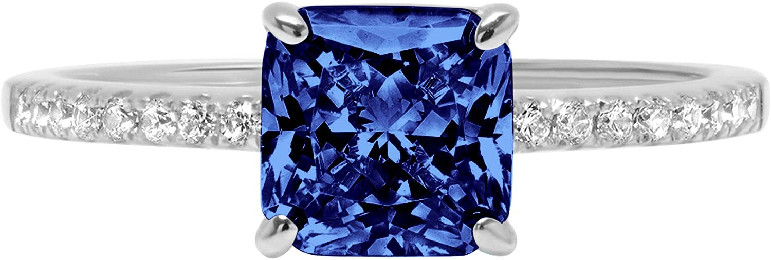 1.71 Brilliant Asscher Cut Solitaire with Accent Stunning Genuine Flawless Simulated Blue Tanzanite Modern Promise Designer Ring 14k White Gold