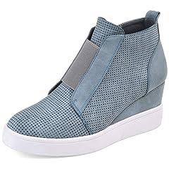 d52ac60d4209 DEARWEN Women s Heel Platform Casual Sneakers Zipper Wedge Hi .