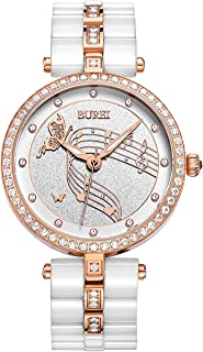 Women's Elegant Analog Quartz Wrist Watches Diamond Bezel with Ceramic Bracelet