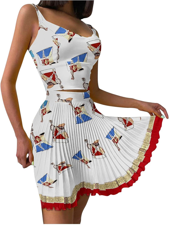 Women Print Sleeveless Casual Sexy Skirt Set Pleated Vest 1 year Popular standard warranty