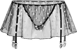 iixpin Men's Sissy Polka Dots Sheer Mesh Skirt A-line High Waist Metal Garters Briefs Skirts