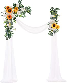 Ling's moment Artificial Wedding Arch Flowers Kit(Pack of 3) - 2pcs Sunflower Aobor Floral Arrangement with 1pc Semi-Sheer...