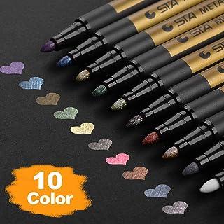 [10 Pack] Rotuladores Metálicos, Willingood Lápices de Colores Surtidos para Manualidades Scrapbooking, Album de Fotos DIY, Pintura de Arte, Fabricación de Tarjetas