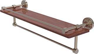Allied Brass WP-1-22TB-GAL-IRW Waverly Place Collection 22 Inch IPE Ironwood Gallery Rail and Towel Bar Wood Shelf, Antique Pewter