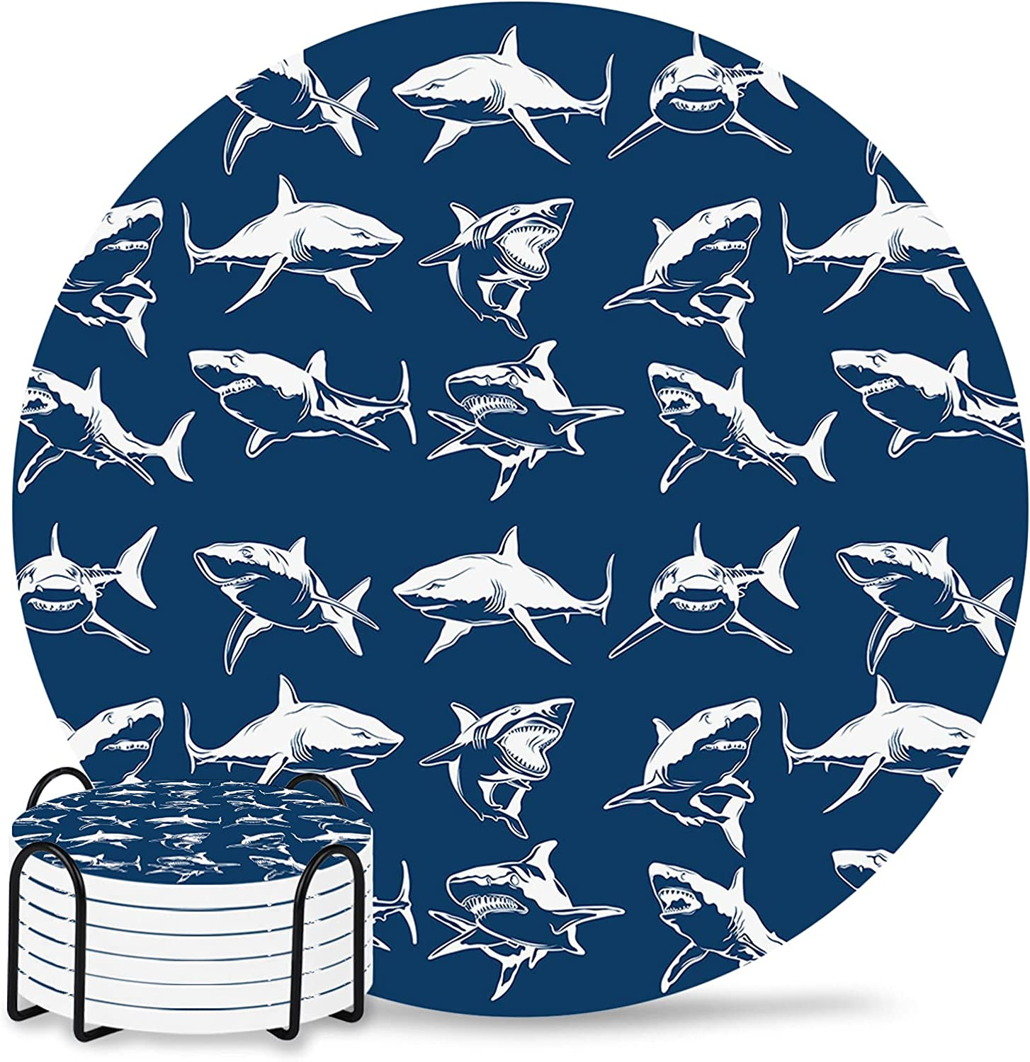 Sea Animals Absorbent Coasters 6-Piece Set online shop Ceramic 67% OFF of fixed price with Holder