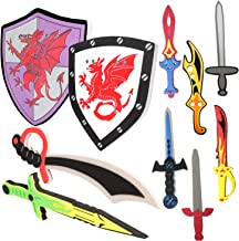 MLcnleS 10 Pack Foam Swords and Shields for Kids Sword Shield Set for Boys Weapons Ninja Warrior Pretend Play Toy