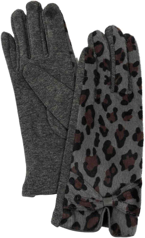 Womens Gray Leopard Print Faux Fur Stretch Fit Text & Tech Touchscreen Gloves