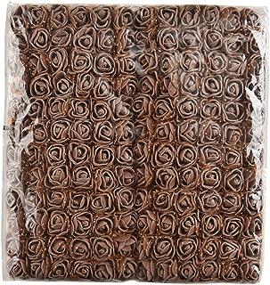 Artificial Foam Rose Multicolor PE Flowers Head DIY Parts Hair Band Ornaments Wreath Wedding Simulation Garland 144 PCS 2cm (Brown)