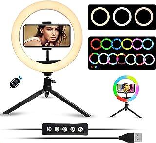 LEDリングライト -Vilgen 撮影照明用ライト 外径10in USBライト 3色モード付き RGBカラー 卓上ライト Bluetoothリモコン 高輝度LED スマホスタンド付き 11段階調光 美容化粧/自撮り補光/YouTube生放送/...