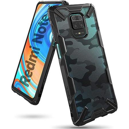 【Ringke】Xiaomi Redmi Note 9S ケース ストラップホール 指紋防止 アーマー ケース [米軍MIL規格取得] クリア 透明 落下防止 スマホケース カバー Qi ワイヤレス充電対応 Redmi Note 9 Pro Fusion-X (Camo Black カモフラージュブラック)