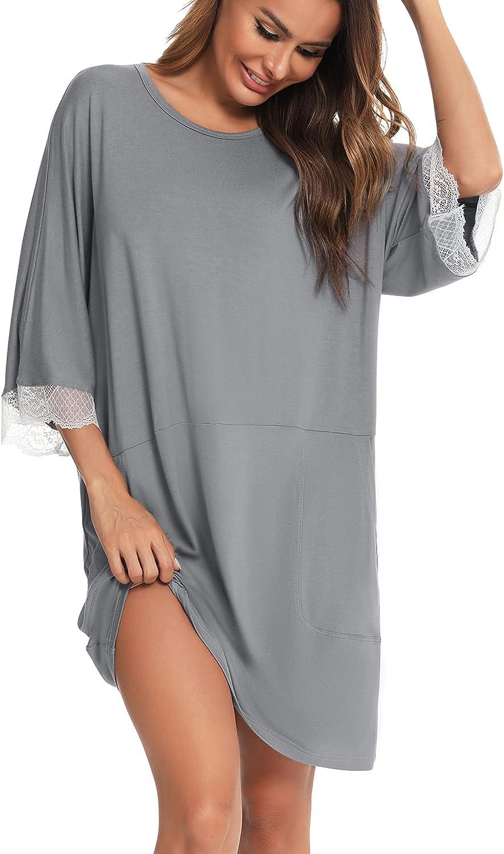 YYA Oversized Nightgowns for Women 3/4 Sleeve House Dress Sleep Dress Sleepwear with Pocket Lace Trim Comfy Nightshirt S-4XL