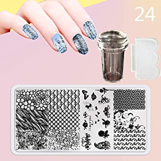 Zmond - New 12X6cm 44 Style Nail Stamping Plates Set Made Stencils Lace Flower DIY Nail Art Templates+Transparent Stamper Stamp Scraper [ 24 ]