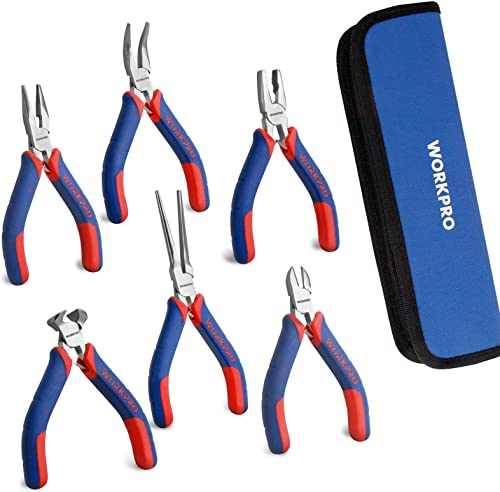 wholesale WORKPRO 6-piece discount Mini Pliers Set - Needle Nose, Diagonal, Long Nose, Bent Nose, End Cutting and Linesman, for Making Crafts, Repairing Electronic online Devices, with Pouch online
