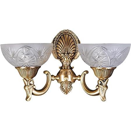 MW-Light Applique Murale Classique à 2 lampes en Métal couleur Laiton avec Abat-jours en Verre Brossé avec Déco pour Salon ou Chambre 2x60W E27
