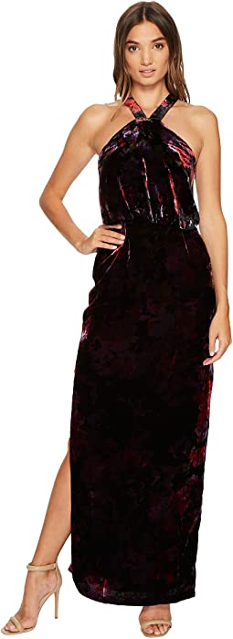 Printed Velvet Halter Blouson Column Gown with Side Slit