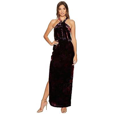 Aidan Mattox Printed Velvet Halter Blouson Column Gown with Side Slit (Purple/Multi) Women