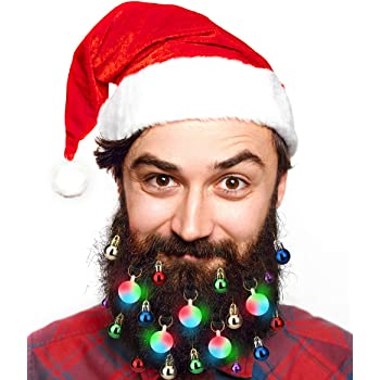 40pcs Christmas Beard Lights OrnamentsGlitter Kit2020with Jewelry Baubles Beads, Bells, Light Up Bulbs, Best Gifts for Men WomenKidsHair Decoration, Funny Ugly Xmas Sweater Party Accessories
