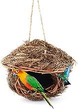 Tfwadmx Hummingbird House, Grass Bird Hut Hanging for Outdoor, Handwoven Bird Nest Roosting Pocket for Hummingbird Wren Wicker Finch Chickadee Sparrow
