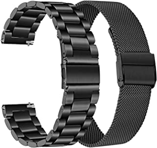 for Samsung Galaxy Watch 46mm / Gear S3 Bands, TRUMiRR 22mm Solid Stainless Steel Metal + Mesh Loop Strap Quick Release Watchband Replacement for TicWatch Pro, Fossil Men's Gen 4 Explorist