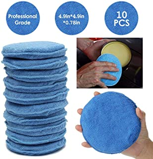 YESZ Microfiber Drying Towels for Cars Blue 10Pcs 5inch Ultra Soft Microfiber Car Wax Applicator Pads Polish Foam Sponges