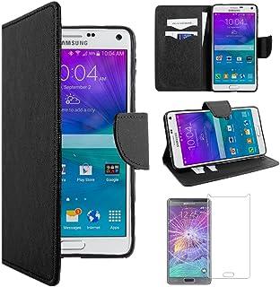 ebestStar - Compatible Funda Samsung Note 4 Galaxy N910F Carcasa Cartera Cuero PU, Funda Billetera Ranuras Tarjeta, Función Soporte, Negro + Cristal Templado [Aparato: 153.5 x 78.6 x 8.5mm, 5.7'']