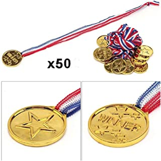 Pack of 50pcs Kids Children's Gold Plastic Winner Award Medals for School Activities, Sports and Birthday Parties
