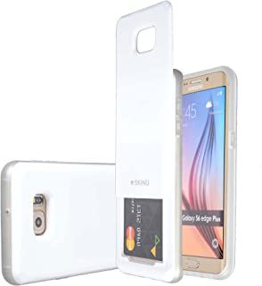Galaxy S6 Edge Plus Credit Card SLIDE Case [Shockproof] [Slide Pocket] [Mirror] Protective Hybrid Case with 3 Card Slot Wallet for Galaxy S6 Edge Plus (White)
