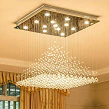 Crystal Lamp Chandelier Square, Modern Minimalist, Living Room Lamp, Bedroom, Dining Room (Color : 60x60x80cm 3color)