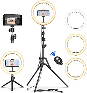 "12"" Selfie Ring Light with Tripod Stand & Cell Phone Holder for Live Stream/Makeup, Mini Led Camera Ringlight for YouTube ..."