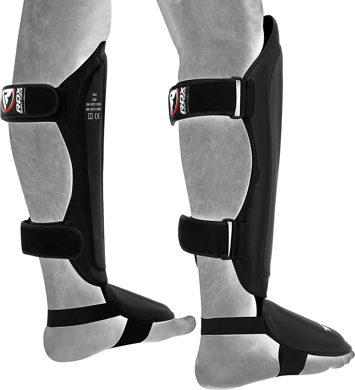 MMA Fighting and Training Pads Sparring,Boxing Training Shin Guards Muay Thai Maya Hide Leather Instep Leg Protector Foam Gear for Martial Arts Approved by SATRA and SMMAF Shinguards for Kickboxing