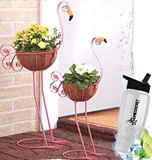 Gift Included-  Decorative 2 Metal Flamingo Outdoor Garden Bird Planter Coconut Fiber Basket Holder   + FREE Bonus Water Bottle by Home Cricket Homecricket
