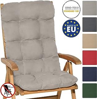 Beautissu Flair HL - Cojín para sillas de balcón o Asiento Exterior con Respaldo Alto - 120x50x8 cm - Gris Claro