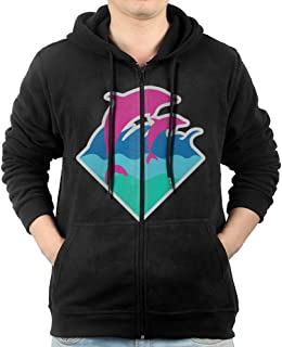 Chris Brown Black Pyramid And Pink Dolphin Men Zip-Up Hoodie Jackets Kangaroo Pocket