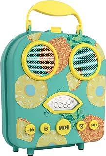 RHM Portable Beach Bluetooth Speaker Cartoon Handbag Wireless Speakers with Alarm Clock FM Radio for Home Outdoor Shoulder Strap Included-Pineapple Green