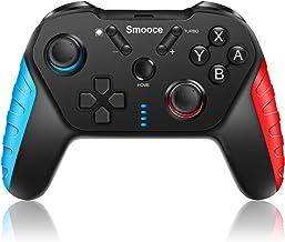 Smooce Mando para Nintendo Switch,mando pro switch inalámbrico ,somatosensorial de 6 ejes, turbo función ajustable, motor de doble vibración, joystick multifunción para juegos de Nintendo Switch