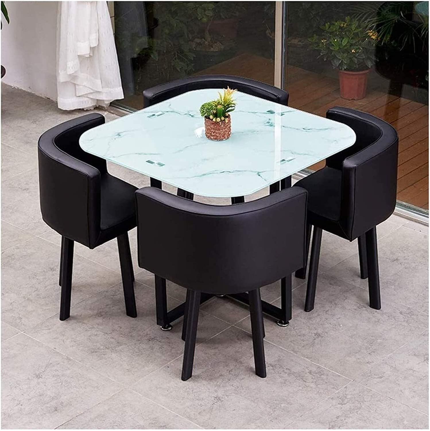 BDBT Popular overseas Modern Round Tempered Ranking TOP4 Glass Dining Table 90 Leather Seat PU