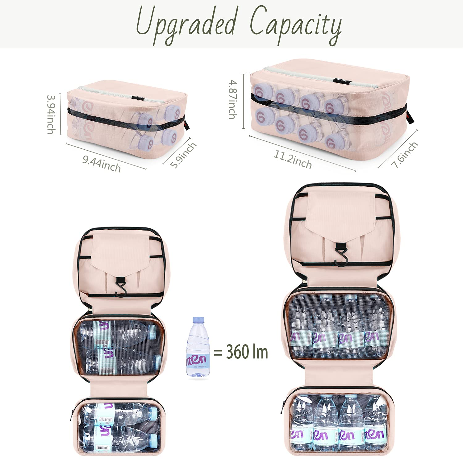 Hanging Toiletry Bag, Travel Toiletry Bag   Foldable Dopp Kit with Large Capacity for Men   4 Layers Portable Waterproof Hygiene Bag for Women   Travel Bathroom Organizer(Pink) : Beauty