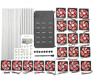 Equipo eléctrico 14 GPU Mining Rig caja de aluminio con 20 ventiladores al aire libre computadora Crypto Moneda marco (col...