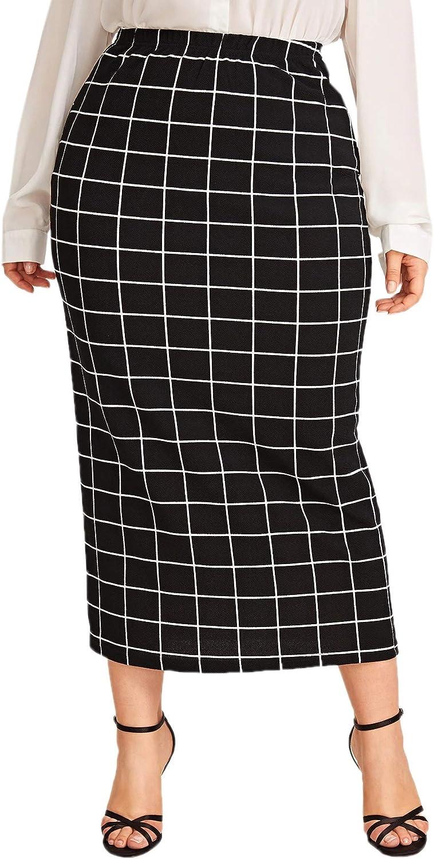 Verdusa Women's Plus Size Plaid Print Elastic Waist Bodycon Long Skirt