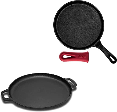 """new arrival Cast Iron Round Griddle - 10.5"""" Crepe Pan - Pre-Seasoned with Silicone Handle + Cast Iron Pizza and new arrival Baking Pan (13.5 Inch) lowest Enhanced Heat Retention and Dispersion - Stove, Oven, Grill or Campfire online"""